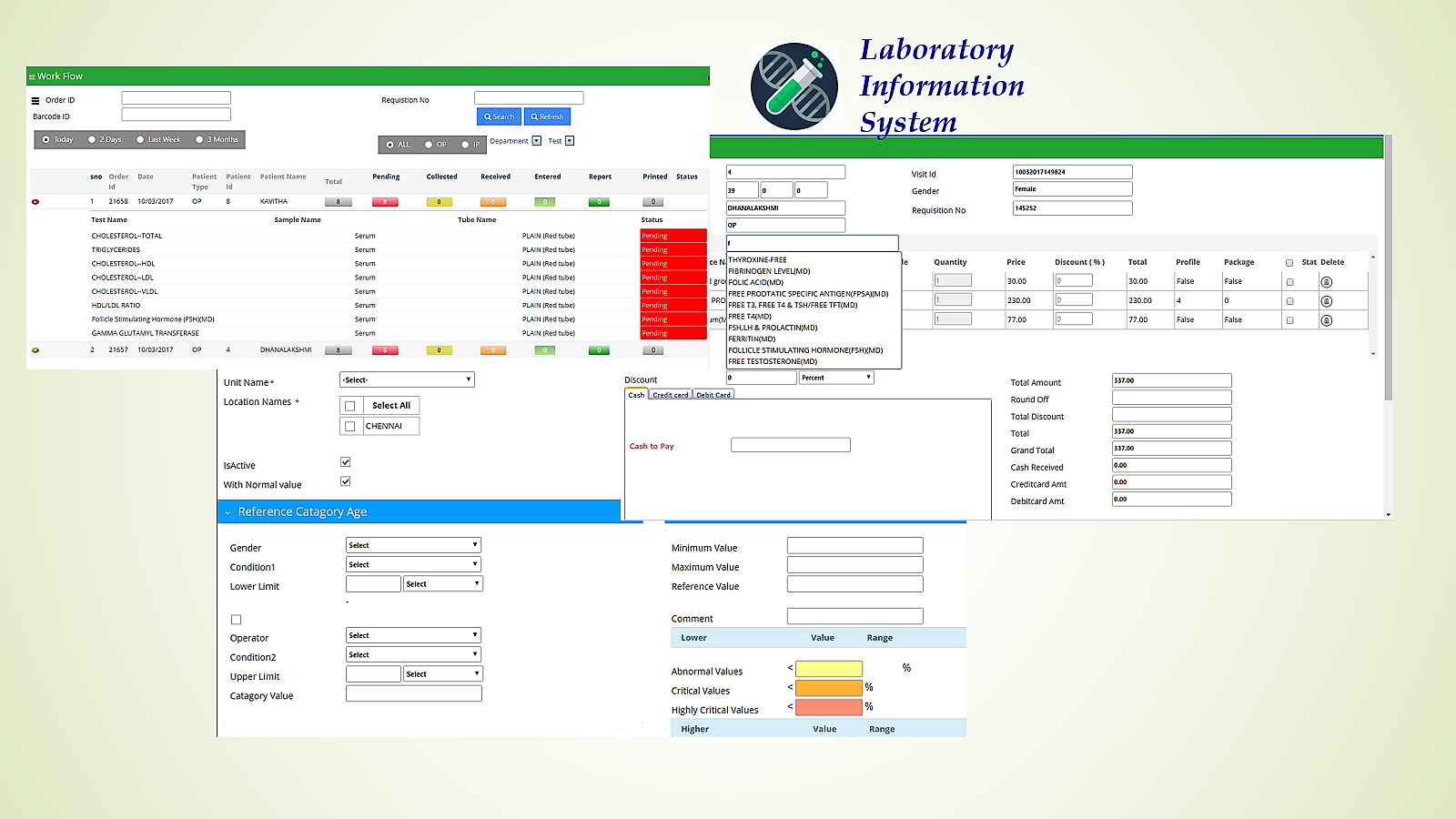 Screens of Laboratory Information Management System