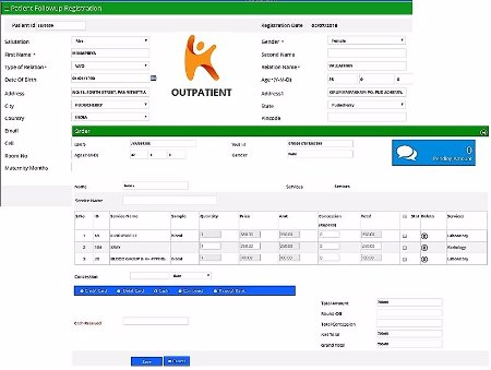 Out Patient details management screen in Hospital Management software
