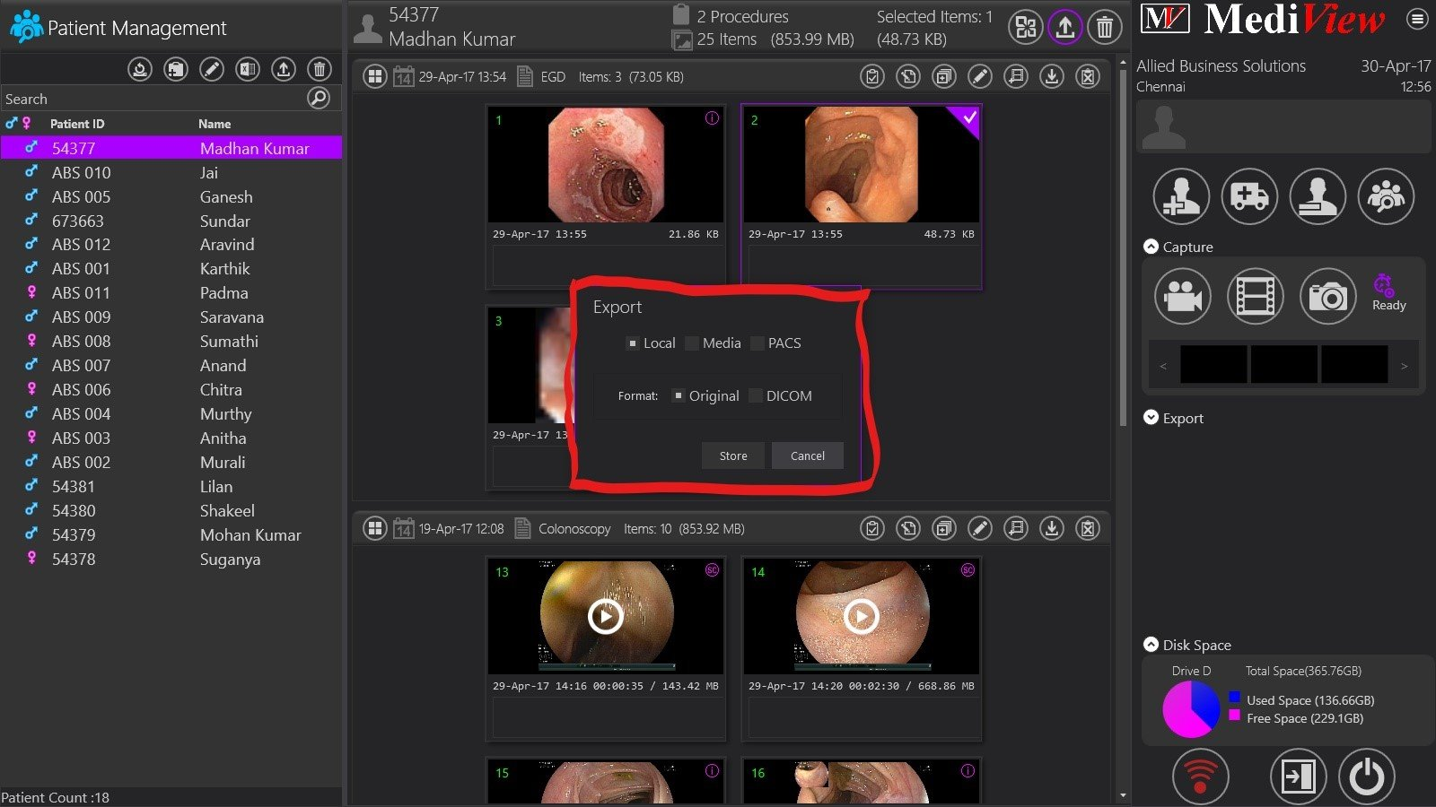 Option to export image in DICOM format provided in endoscopy image capture system