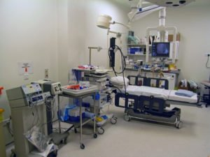 A typical operating room filled with medical imaging equipments for endoscopic procedure